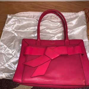 Kate Spade Pink Leather Tore Handbag w/Bow Detail